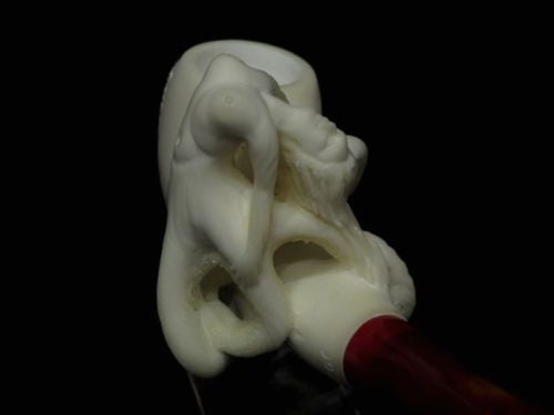 Octopus Girl w/ Long Arms Block Meerschaum Pipe Freehand Rare Art piece Cor 5085