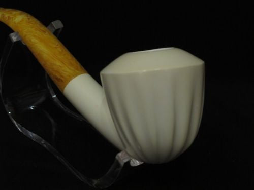 Smooth 3/4 Bent Paneled Apple Block Meerschaum Pipe Tobacco Smoking w/Case 3994