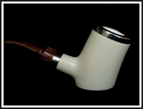 Trendy Shiny Poker Sitter Big Meerschaum Pipe Without Screws Silver Acrylic 0912