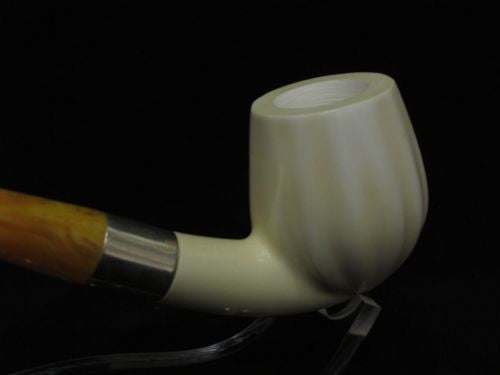 Paneled Bent Billiard Block Meerschaum Pipe Seafoam 925Sterling Silver Band 2867