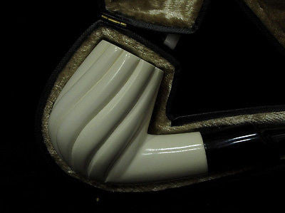 Swirling Bent Billiard Block Meerschaum pipe Acrylic stem Case Light weight 4604