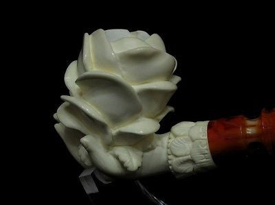 Rose in Lady Hand Floral Block Meerschaum Pipe Cor Ideal Gift Ladies Turkey 8405