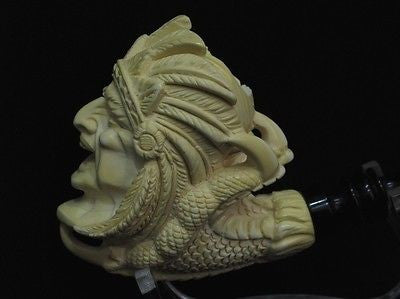 Indian Chief in Reverse Dragon Claw Native Meerschaum Pipe Gift Full Bent 6560