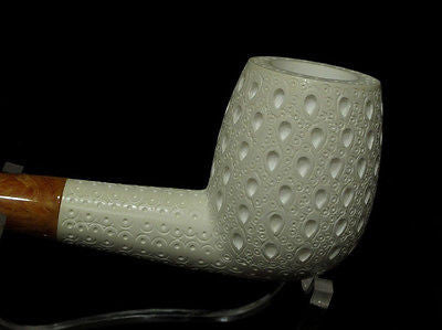 Lattice Canadian Straight Billiard Block Meerschaum pipe Big Bowl FreeHand 9530