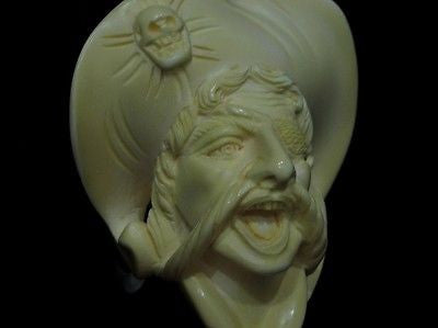 Pirate of the Caribbean Block Meerschaum Pipe Free hand - Full Bent Perfect 0465