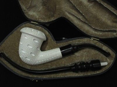 Lattice Bent Calabash Block Meerschaum Pipe 2 stems Churchwarden - Classic 4336