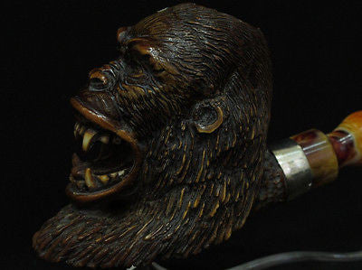 Gorilla Chimpanzee Animal Monkey Ape Meerschaum Pipe Silver Band Big Bowl 4791