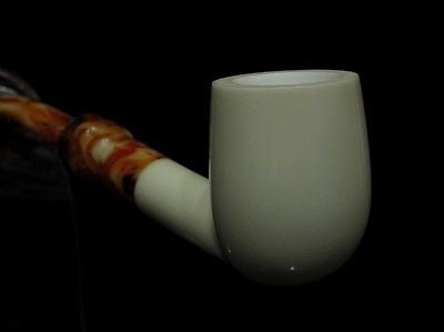 Smooth Billiard Block Meerschaum pipe by H. Cor Plain Ideal Size Gift Case 2195