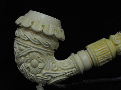 Floral Bent Calabash Churchwarden Solid Block Meerschaum pipe Big Bowl Case 6742
