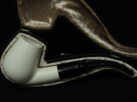 1/2 Bent Smooth Billiard Meerschaum Pipe Acrylic Stem Lightweight Good size 9012