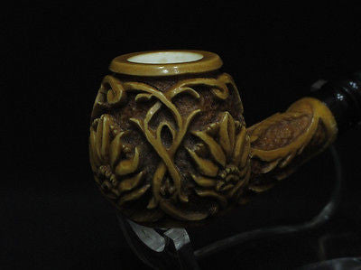 Wild Embossed Flowers Meerschaum Pipe Acrylic Stem Freehand Brown Women Men 4101