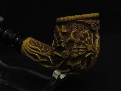 Deep Flowers Embossed Floral Meerschaum pipe Vintage looks Brown Patina Cor 4160