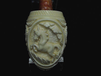 Full Bent Floral Embossed Horse Churchwarden Meerschaum Pipe by Kudret Gift 4696