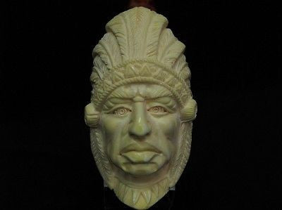 Indian Cherokee Lion Native Block Meerschaum Pipe Fitting Case Long Shank 9164