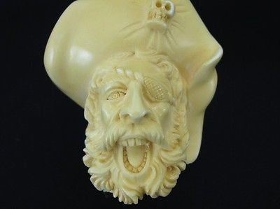 Massive Full Bent Pirate Solid Block Meerschaum Pipe Genuine Block Freehand 4731