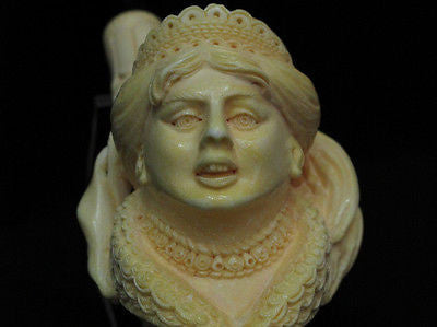 Spanish Queen Lady Crooked Teeth Bent Block Meerschaum Pipe Huge Gift Case 3531