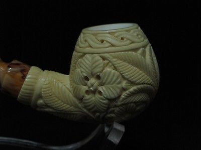 Floral Apple Bowl Meerschaum Pipe gift Yellow Freehand Medet Turkey Ladies 7367