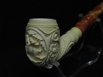 Floral Deer figurative Bent Churchwarden Meerschaum Pipe Kudret Hand made 4750