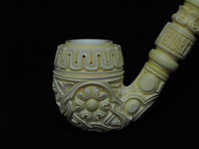 Floral Full Bent Oom Paul Churchwarden Meerschaum pipe by Kudret Big Bowl 0136