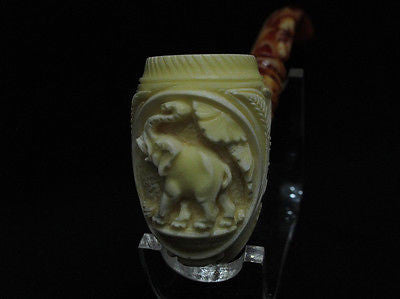 Elephant Flowers Bent Billiard Churchwarden Block Meerschaum pipe by Kudret 9798