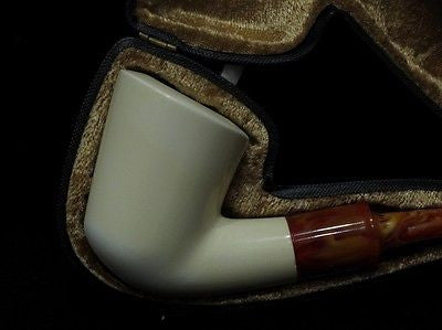 Smooth Plain Classic Half Bent Block Meerschaum pipe Hand carved Gift Case 9063