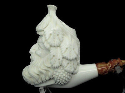 Happy Bacchus Block Meerschaum Pipe Case Stand Mythological Big Bowl by Cor 3797