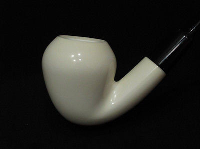 Smooth Bent Pear Meerschaum Pipe Rare Flat Eclipse Acrylic stem Good size 2587