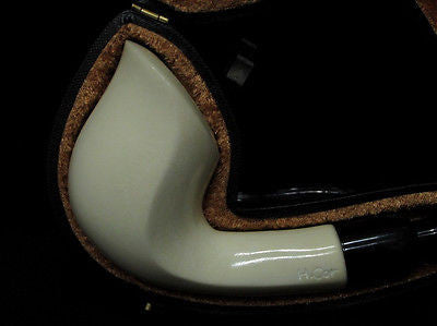 Smooth Bent Cobra Meerschaum pipe Acrylic system w/no screws by H. Cor Gift 2554