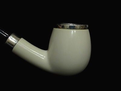 Smooth Apple Billiard Block Meerschaum pipe Acrylic 2 silver band Big Bowl 6799