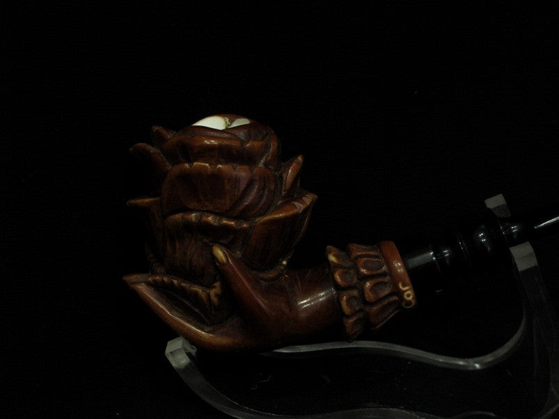 Dark Patina Rose in Lady Hand Meerschaum Block Pipe Acrylic stem Big Bowl 3127