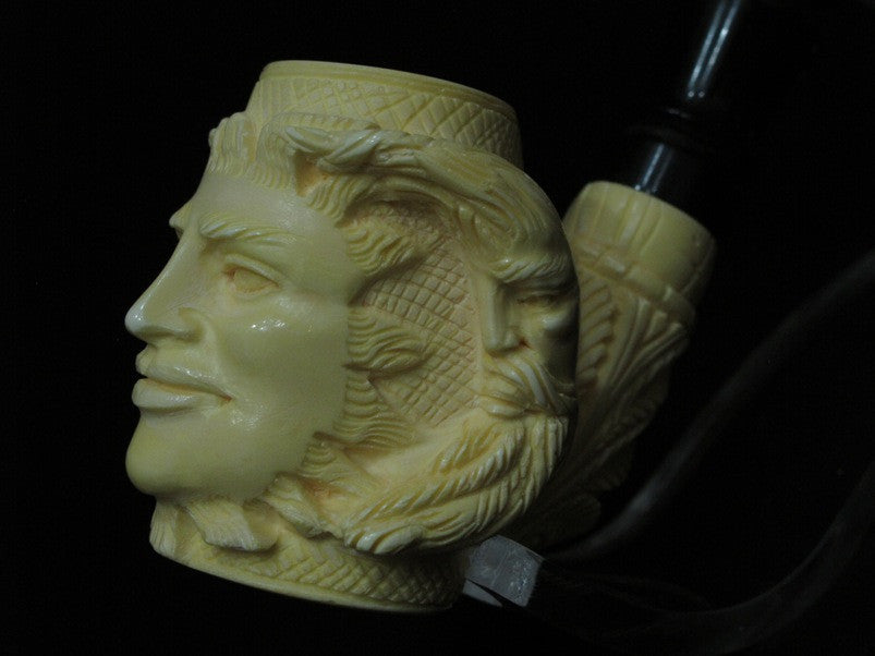 Celestial Full Bent Sun and Moon Medieval Meerschaum Pipe Acrylic stem Rare 5057