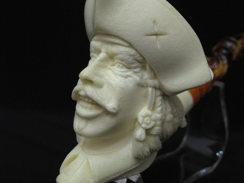 Captain Pirate of the Caribbean Churchwarden Block Meerschaum Pipe Big Bowl 2013
