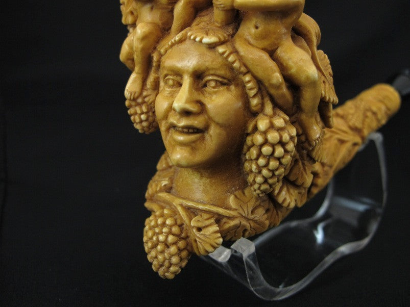 Bacchante Lady Bacchus 3 Angels Vineyard Meerschaum Pipe Hand carved Floral 0432