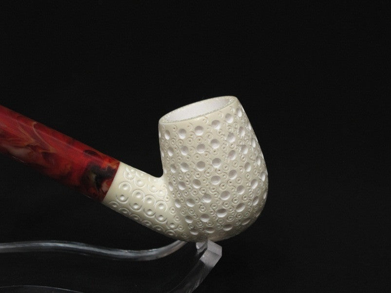 3/4 Bent Lattice Billiard Churchwarden Block Meerschaum Pipe Hand carved  7391