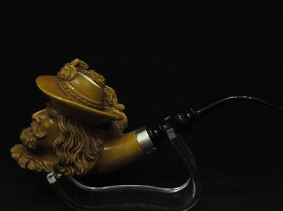 Brown Chevalier Knight Meerschaum Pipe Acrylic Stem Silver Band Big Bowl 3939