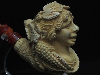 Lady Bacchante in Vineyard Block Meerschaum Pipe Full Bent Big Bowl Patina 8523
