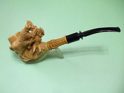 Mythological War Scene Meerschaum pipe Warrior, Slave, Horse, Lion, Dog Big 6241