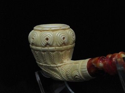 Calabash Floral Block Meerschaum Pipe by Emin Collectible Tribal Gift pipes 2876