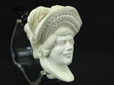 Lady Woman w/Floral Hat Smoking Block Meerschaum Pipe Acrylic Stem Turkey 0446