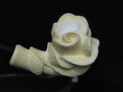 Rose in Lady Hand Smoking Block Meerschaum Pipe Hand carved Turkish pipes 6229