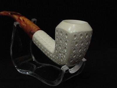 Paneled Billiard Lattice Bent Block Meerschaum Pipe Gift Case Hand carved 9352