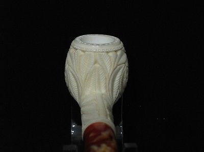 Straight Floral SolidBlock Meerschaum Pipe Flower Women Freehand Gift Case 1559