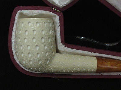 Lattice Canadian Straight Billiard Block Meerschaum Pipe Gift Case Big Bowl 6113