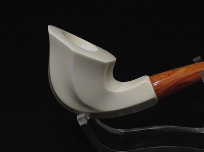 Bent Swirl Paneled Block Meerschaum Pipe Lightweight Ideal size Big Bowl 7528
