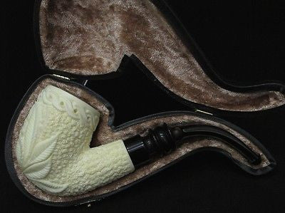 Floral Full Bent Block Meerschaum Pipe Hand carved quality Eskisehir Turkey 3484