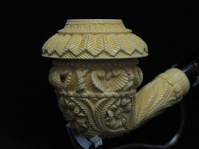 Topkapi Calabash Floral Meerschaum Pipe Huge Yellow Antique looks ebay pipe 8224