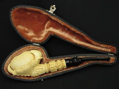 Eagle Claw holding Big Egg Block Meerschaum Pipe by Mesut Gift Case Yellow 9091