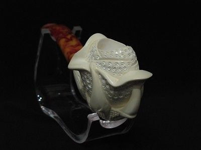 Eagle Claw Holding Rose Flower Block Meerschaum Pipe Hand carved in Turkey 0381