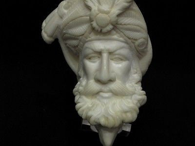 Ottoman Pasha and Eagle Bent Block Meerschaum Pipe Hand Made Big Bowl Gift 0793