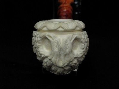 Embossed 2 Headed Eagle on 3/4 Bent Calabash Block Meerschaum Pipe by Medet 7894